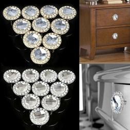 10pc/Pack Dazzling Crystal Door Knobs Drawer Cabinet Handle