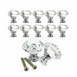 10x Diamond Crystal Door Dresser Knobs Drawer Furniture Pull