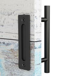 12'' Pull and Flush Barn Door Handle Set SS304 and Black Pow