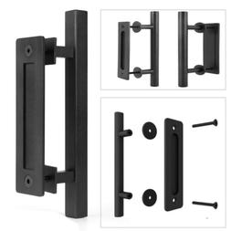 "12"" Square Pull and Flush Door Handle Set in Black Sliding B"
