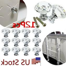 12pcs Crystal Glass Door Knobs Cupboard Drawer Cabinet Kitch