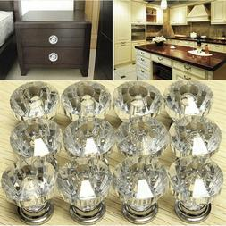 12X Crystal Glass Door Knobs Drawer Cabinet Furniture Kitche