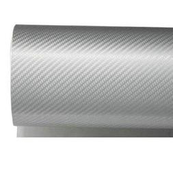 24 by 48 inches 3D Twill Weave White Silver Carbon Fiber Vin