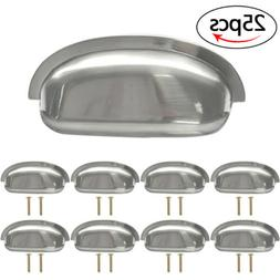 25pcs Satin Nickel Shell Pull Cabinet Door Handle Kitchen Ha