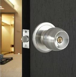 Round Door Knobs Rotation Lock Handle Stainless Steel Door K