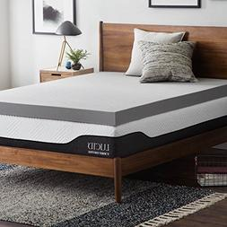 Lucid 4 Inch Bamboo Charcoal Memory Foam Mattress Topper - Q
