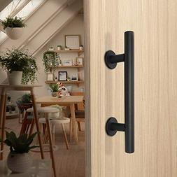 Barn Door Handle Pull and Flush Barn Door Handle Set in Blac