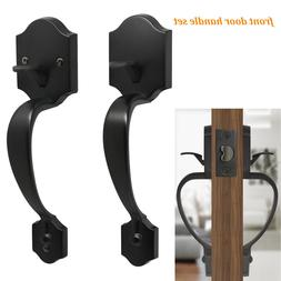 Probrico  Black Exterior Front Entry Door Handle set Square