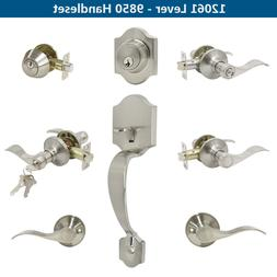 Brushed Nickel Door Knobs Front Door Handle and deadbolt set
