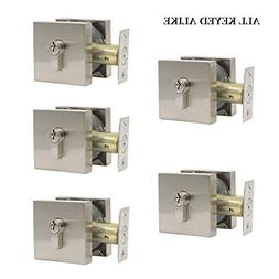 Contractor Pack of 5, Single Cylinder Deadbolt with Square L