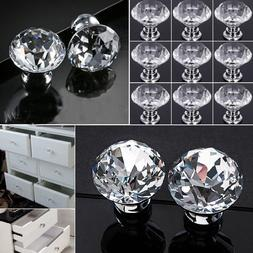 Crystal Glass Door Knobs Drawer Cupboard Cabinet Handle Furn