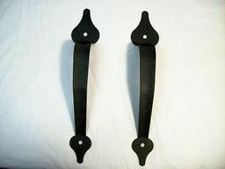 "Decorative Black Metal Door Handles Set 11-1/2"" + Hardware G"