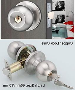 Entracne Passage Door Handle Lock Knobs Lockset - Key Lockin