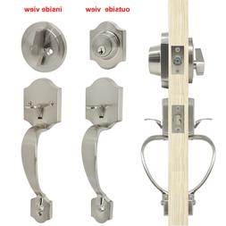 Front Door Entry Handle Set Satin Nickel Locked Deadbolts 3