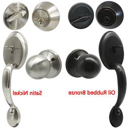 Front Door Handle Set Single Entry Deadbolt Knob Satin Nicke