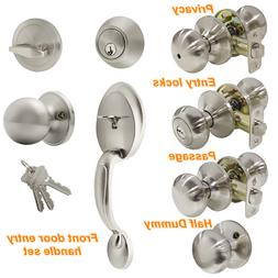 Front Entry Door Handle Set Privacy Passage Knobs Deadbolt B