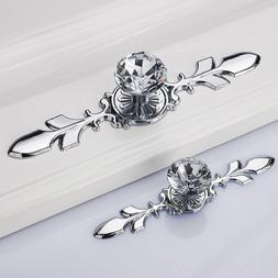Glass Diamond Crystal Knobs Drawer Wardrobe Pull Handle Bar