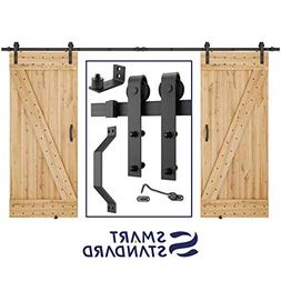 12 FT Heavy Duty Double Gate Sliding Barn Door Hardware Kit,