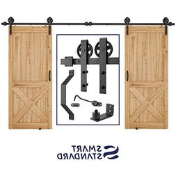 12ft Heavy Duty Double Gate Sliding Barn Door Hardware Kit,