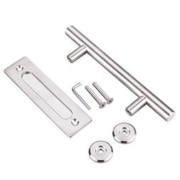 "FaithLand 12"" Heavy Duty Pull and Flush Door Handle Set, Sta"