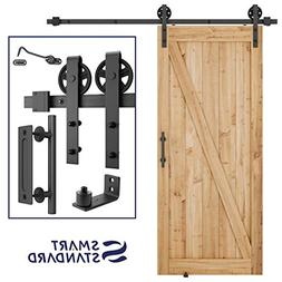 6.6ft Heavy Duty Sliding Barn Door Hardware Kit, 6.6ft Singl