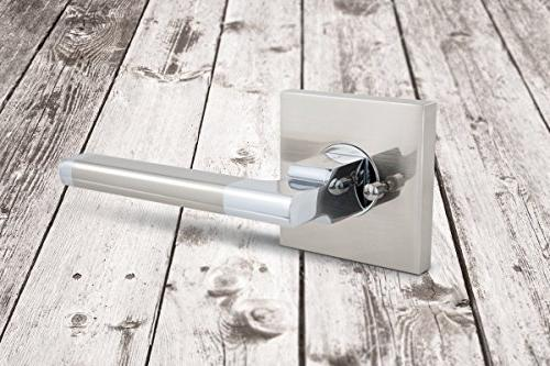 AVALON Contemporary / Door Handles / Levers in Satin Nickel - Polished Chrome Finish
