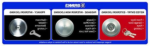 Brinks Ball Style Keyed Door Satin Nickel