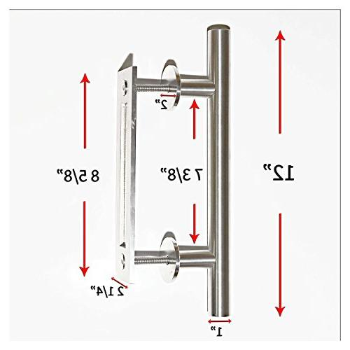 NAPUPRO Barn - Door Pull and Flush Set 304 Silver ,Brushed , 12 inch Wood Glass, Doors
