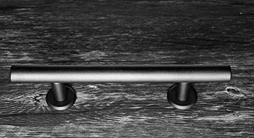 Handle and Set Black Steel Sliding for Interior Doors, to Install and Heavy 2 Screws