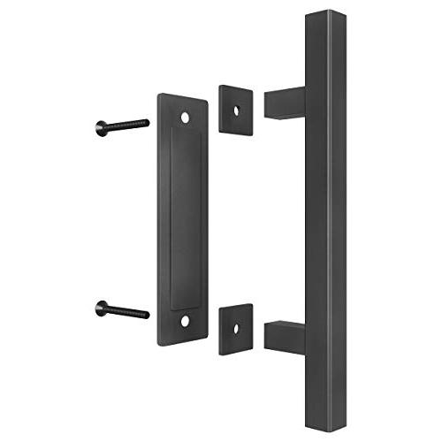 SMARTSTANDARD Pull and Door Handle Rustic for Gates Sheds Black Coated Square