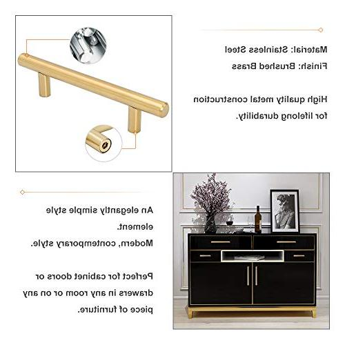 Goldenwarm Brushed Brass Drawer T Bar Kitchen Cupboard Wardrobe Overall Length