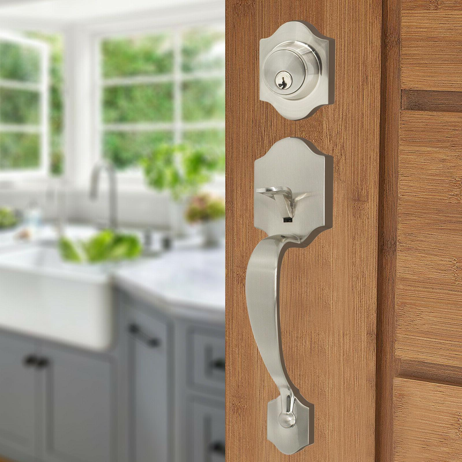 Brushed Front Door deadbolt set Interior Lever