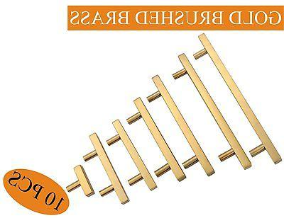 Cabinet Pulls Gold T Bar Kitchen Door Handles Brushed Brass
