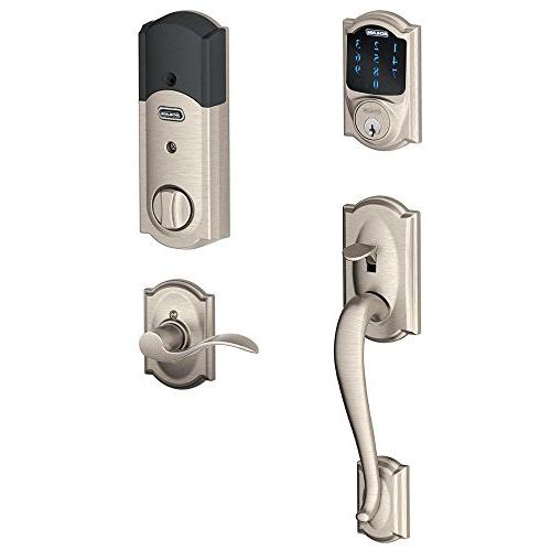 Schlage Deadbolt with Built-In Alarm and Handleset Grip with Accent FE469NX