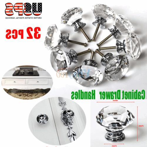 32Pcs 40mm Crystal Glass Rhinestone Shape Cabinet Knob Door