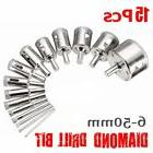 15 Pcs 6mm-50mm Diamond Drill Bit Hole Saw Cutter Tool for G