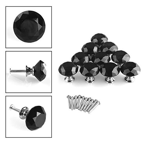 uxcell Knob Handle Crystal Diamond Shape Cabinet Drawer Knobs for Office Wardrobe 10pcs