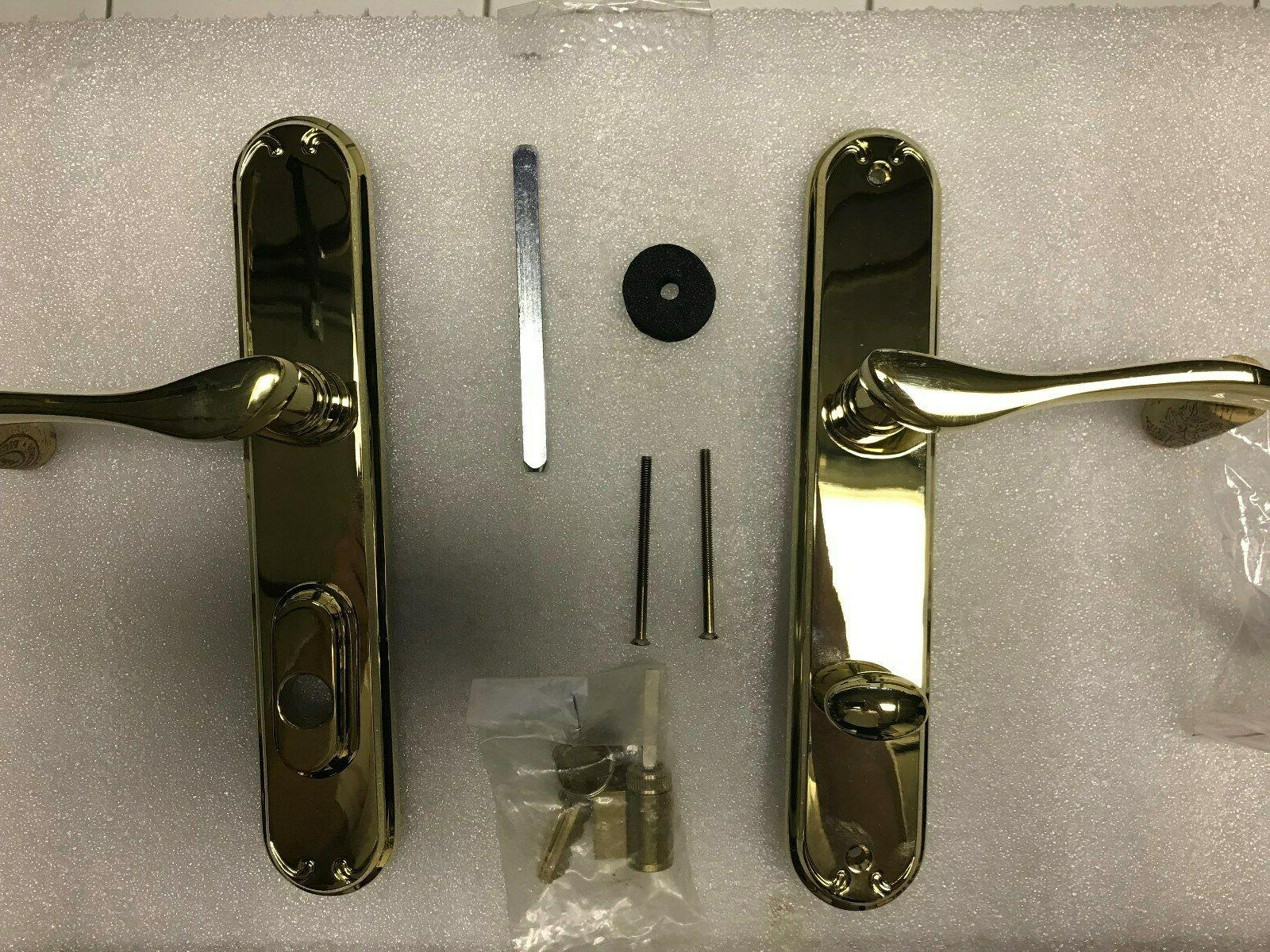 french door handle shiny brass right hand