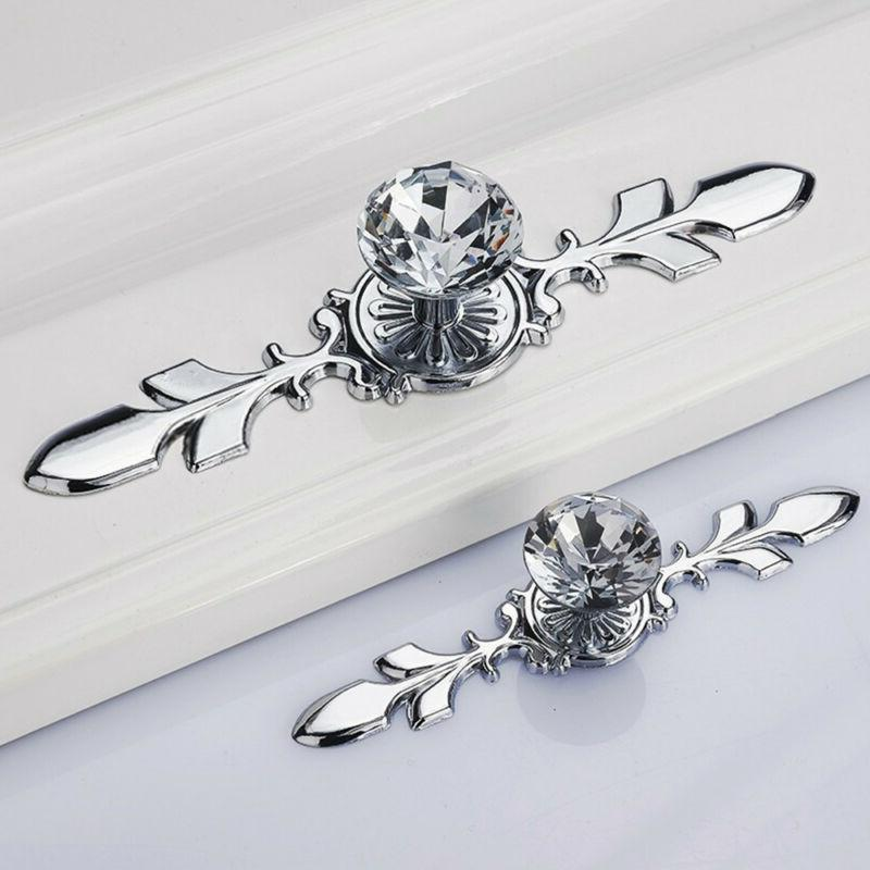glass diamond crystal knobs drawer wardrobe pull