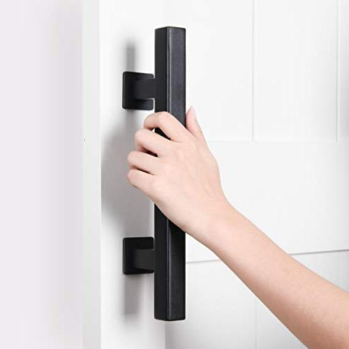 SMARTSTANDARD Pull and Flush Door Handle Set, Rustic Two-Side for Gates Furniture, Black Square