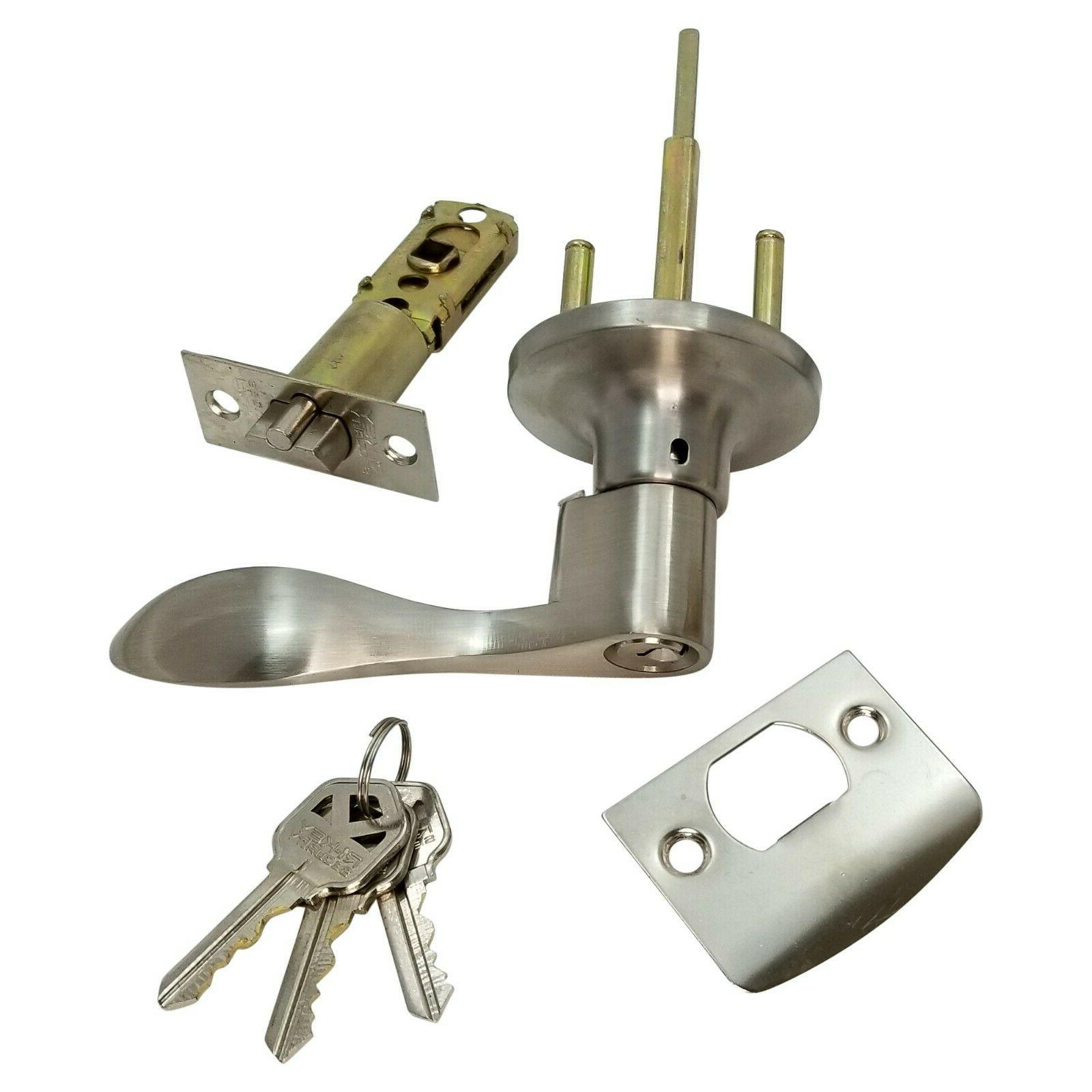 Lever Door Keyed Cylinder Stainless Wave 3 Keys