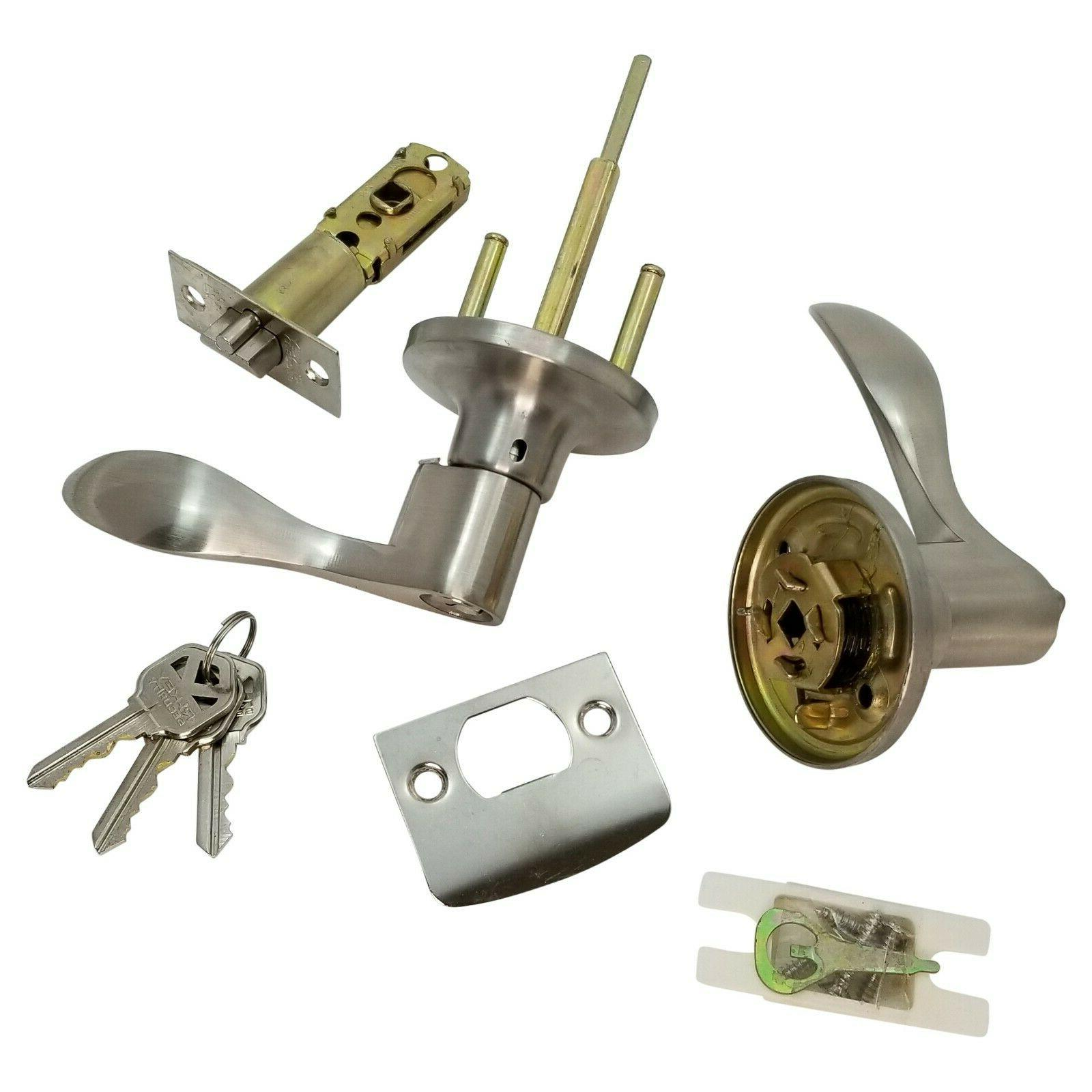 Lever Door Lock Keyed Cylinder Stainless Steel Wave New 3 Keys