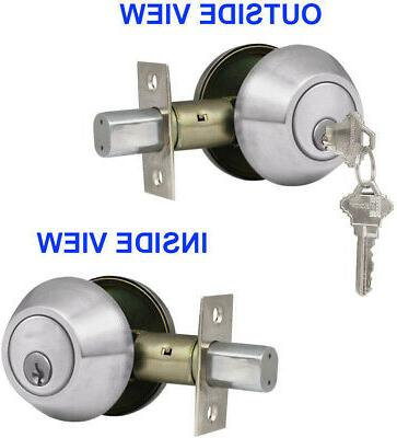 New Double Deadbolt Door Handle Satin Keys ANSI