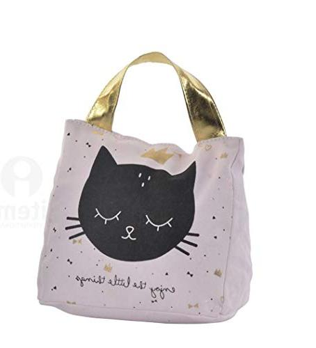 pink polyester black cat face
