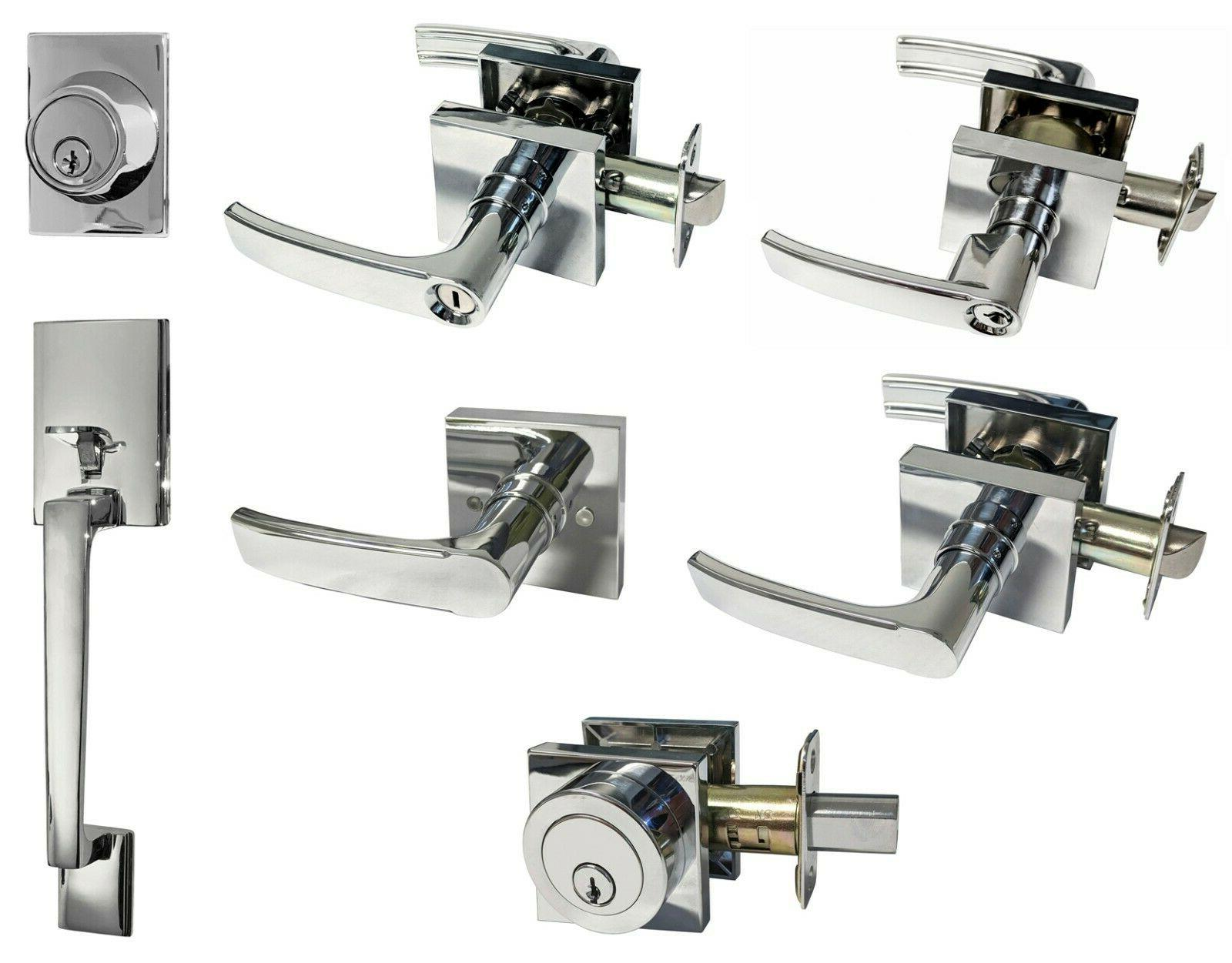 polished chrome square plate door handle lever