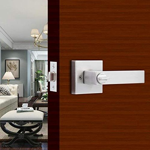"""STAR-BRIGHT Privacy Square Lever/Door Handle Bed Bath Lever Nickel Finish,Adjustable fits Either or 2-3/4"""""""
