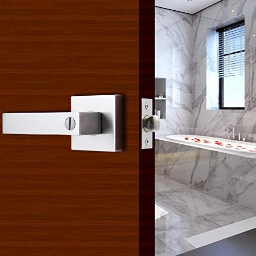 """STAR-BRIGHT Lever/Door Bed or Bath Lever in Satin Nickel Latch fits Either 2-3/8"""" or 2-3/4"""""""