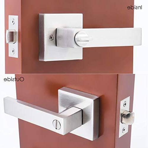 """STAR-BRIGHT Privacy Lever/Door or Bath Lever in Nickel Finish,Adjustable fits 2-3/4"""""""