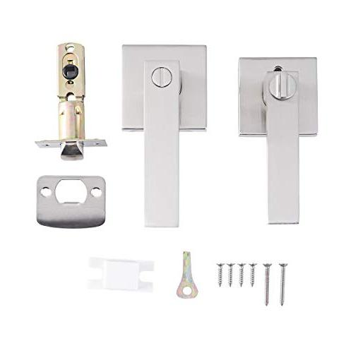 """STAR-BRIGHT Privacy Lever/Door Handle or Bath in Nickel Finish,Adjustable Latch fits Either 2-3/4"""""""