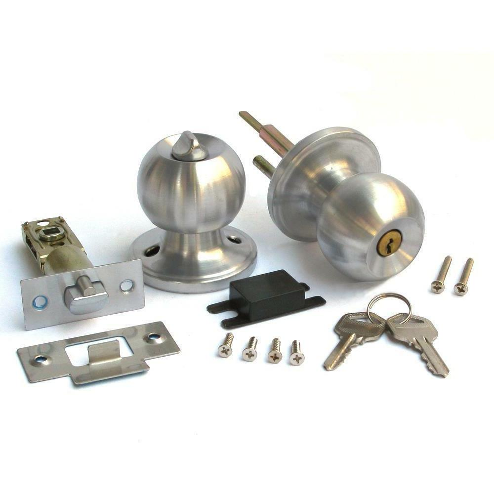 Stainless Keyed Entry Rotation Round Door Knobs Handle Entra